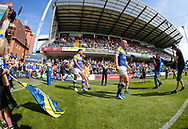 Carl Ablett Club Captain of Leeds Rhinos  leads the team out against Toulouse Olympique during the Betfred Super 8s Qualifiers match at Emerald Headingley Stadium, Leeds<br /> Picture by Stephen Gaunt/Focus Images Ltd +447904 833202<br /> 11/08/2018