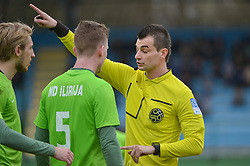 Referee Matkovic Aleksandar and Lamin Diallo of ND Ilirija 1911 during football match between ND Mura and ND Ilirija 1911 in Round #18 of 2.SNL 2017/18 on March 11, 2018 in Mestni stadion Fazanerija , Murska Sobota , Slovenia. Photo by Mario Horvat / Sportida
