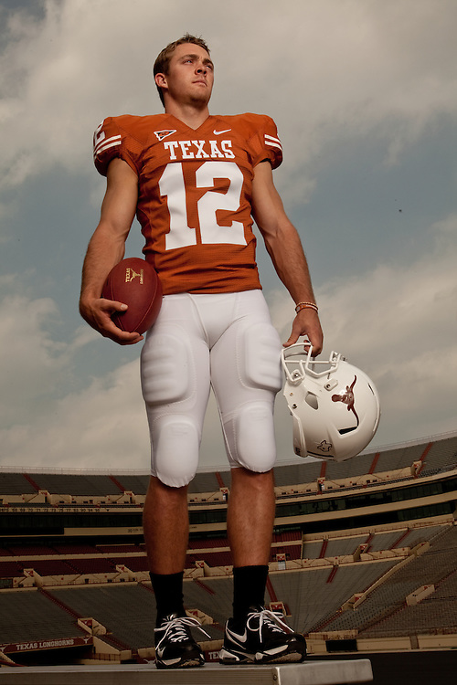 Colt McCoy, Quarterback, Texas Longhorns. Photographed at Darrell K. Royal-Texas Memorial Stadium at the University of Texas at Austin in Austin, Texas on Wednesday, May 6 2009. Photograph © 2009 Darren Carroll