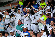 Hartlepool fans in the stands dressed as Storm Troopers during the Sky Bet League 2 match between Plymouth Argyle and Hartlepool United at Home Park, Plymouth, England on 7 May 2016. Photo by Graham Hunt.