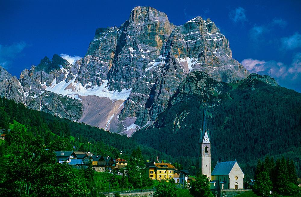 Italian alpine village in the Dolomites, Selva di Cadore, Northern Italy