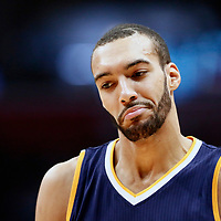 25 March 2016: Utah Jazz center Rudy Gobert (27) looks dejected during the Los Angeles Clippers 108-95 victory over the Utah Jazz, at the Staples Center, Los Angeles, California, USA.