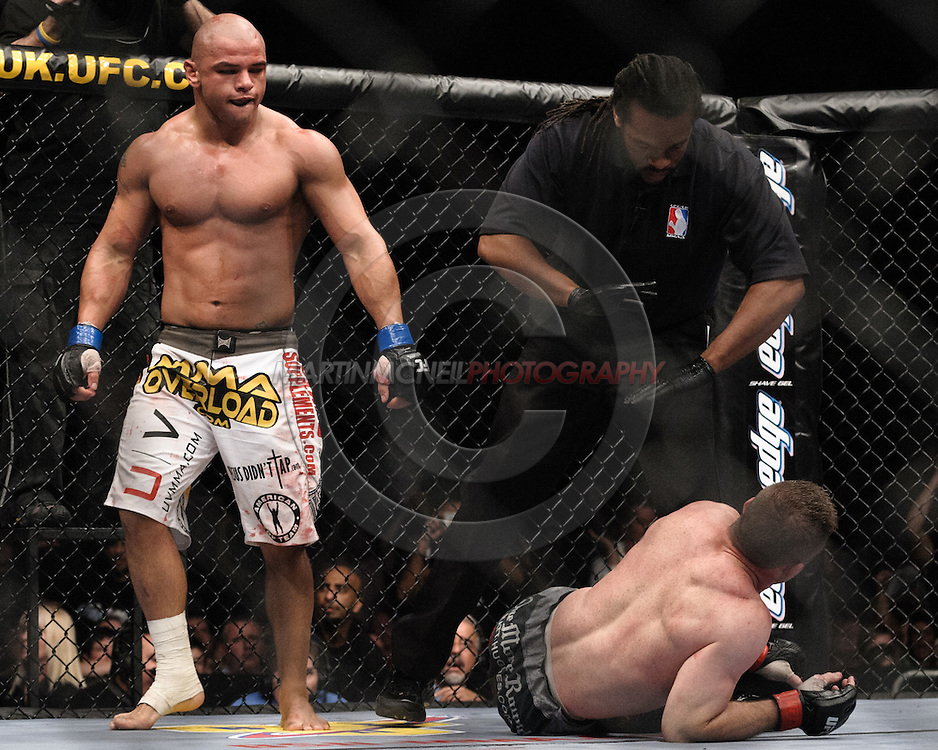 "LONDON, ENGLAND, JUNE 7, 2008: Thiago Alves (left) walks away after defeating Matt Hughes at ""UFC 85: Bedlam"" inside the O2 Arena in Greenwich, London on June 7, 2008."