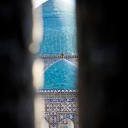 View of Registan domes from inside Ulugbek Medrassa minaret, Samarkand