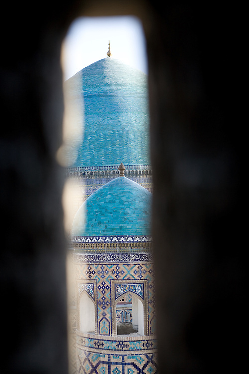 View of Registan domes from inside Ulugbek Medrassa minaret, Samarkand