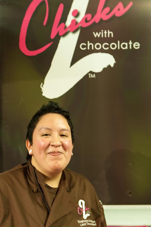 Lead Chocolatier Stephanie Vazquez of 2 Chicks wih Chocolate, of South River, New Jersey.