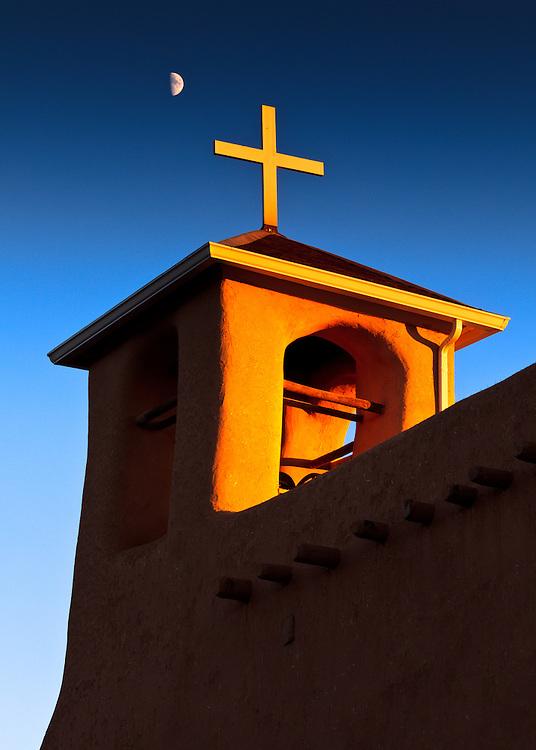 Moonrise over San Francisco de Asis Church in Ranchos de Taos, New Mexico.