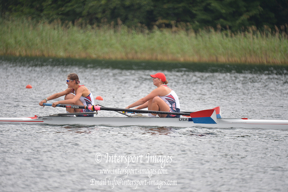 Trackai. LITHUANIA. B Final. USA BW2-  Bow. Anna KAMINSKI and Rosemary POPA  in the closing stages of the women's pair B Final on Lake Galve.  2012 FISA U23 World Rowing Championships.  ..11:58:29  Saturday  14/07/2012  [Mandatory Credit: Peter Spurrier/Intersport Images]..Rowing. 2012. U23.