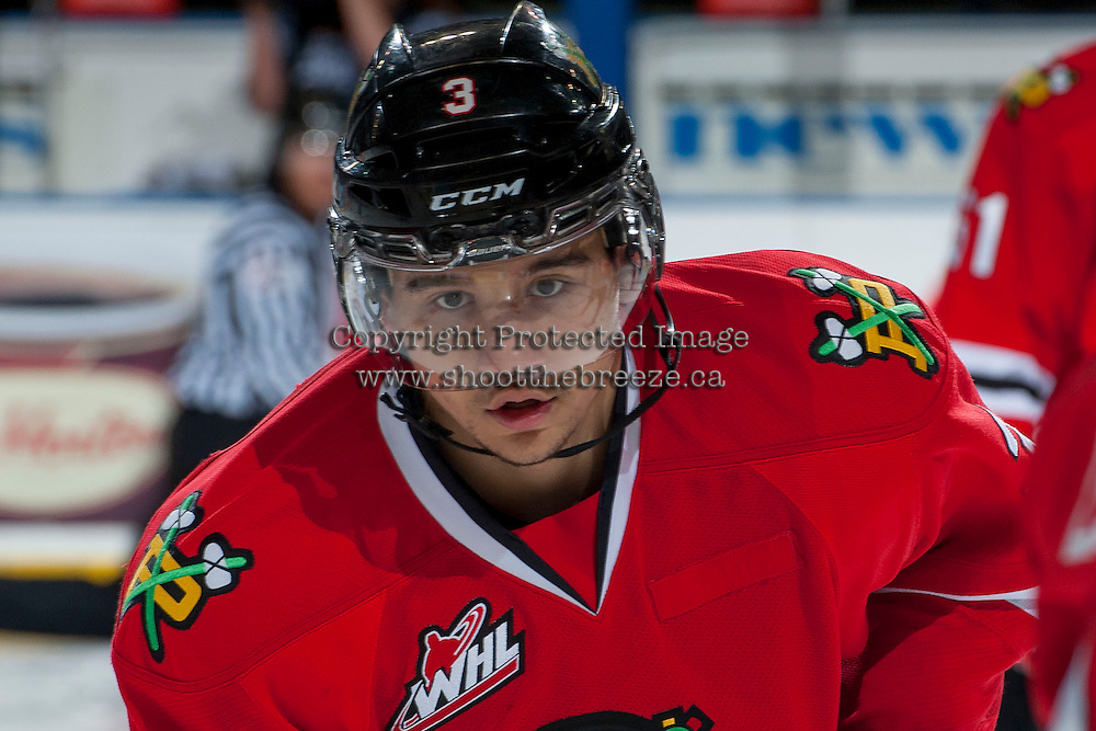 KELOWNA, CANADA - APRIL 25: Ethan Price #3 of the Portland Winterhawks warms up against the Kelowna Rockets on April 25, 2014 during Game 5 of the third round of WHL Playoffs at Prospera Place in Kelowna, British Columbia, Canada. The Portland Winterhawks won 7 - 3 and took the Western Conference Championship for the fourth year in a row earning them a place in the WHL final.  (Photo by Marissa Baecker/Getty Images)  *** Local Caption *** Ethan Price;