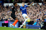 Everton defender Lucas Digne (12) and Chelsea midfielder Willian (10) during the Premier League match between Everton and Chelsea at Goodison Park, Liverpool, England on 7 December 2019.