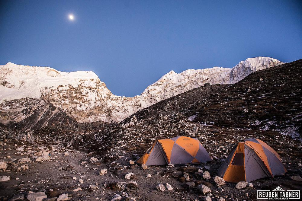 Island Peak Base Camp at dusk, looking up the glacier towards Cho Polu.