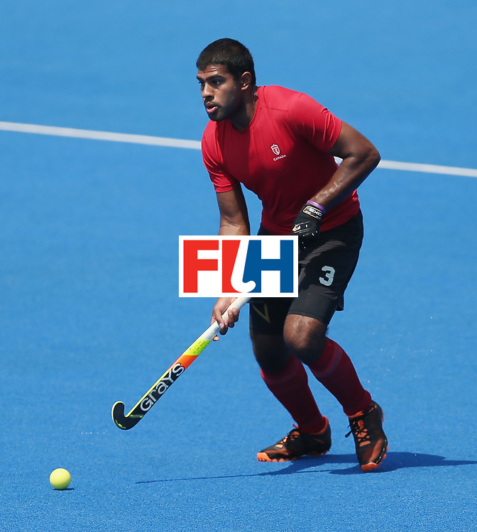 LONDON, ENGLAND - JUNE 20: Brandon Pereira of Canada during the Pool B match between Scotland and Canada on day six of the Hero Hockey World League Semi-Final at Lee Valley Hockey and Tennis Centre on June 20, 2017 in London, England.  (Photo by Alex Morton/Getty Images)