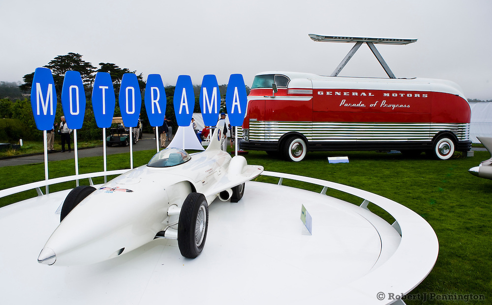 General Motors displays a collection of Concept Cars from the Motorama of the mid 1950s on the 18th Green of the 2008 Pebble Beach Concours de Elegance. 1954 Firebird 1.