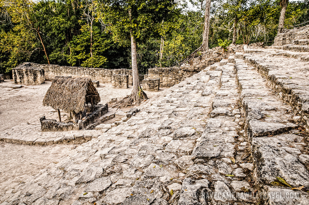 Shot taken from part way up of the 120 steps of La Iglesia at Coba, an expansive Mayan site on Mexico's Yucatan Peninsula not far from the more famous Tulum ruins. Nestled between two lakes, Coba is estimated to have been home to at least 50,000 residents at its pre-Colombian peak.
