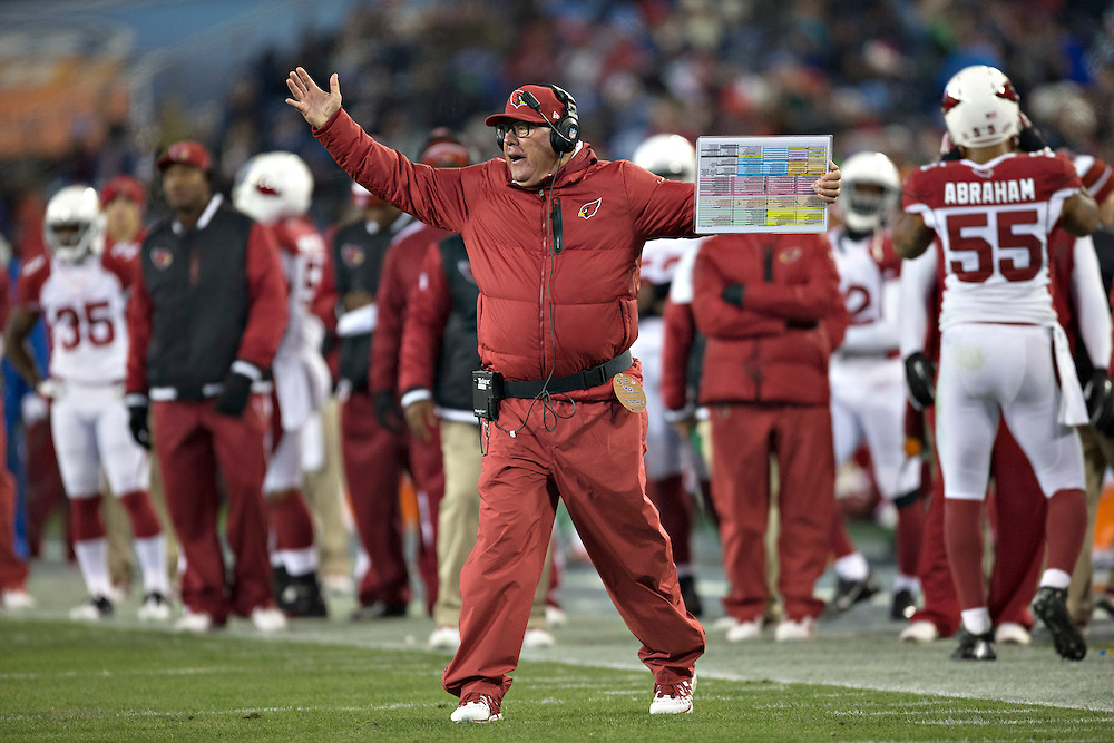 NASHVILLE, TN - DECEMBER 15:  Head Coach Bruce Arians of the Arizona Cardinals yells at the Referees during a game against the Tennessee Titans at LP Field on December 15, 2013 in Nashville, Tennessee.  The Cardinals defeated the Titans 37-34.  (Photo by Wesley Hitt/Getty Images) *** Local Caption *** Bruce Arians