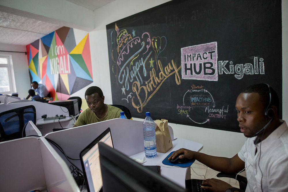 Young Rwandan entrepreneurs work at the Impact Hub, a social entreprise community, in Kigali, Rwanda. February 15, 2017. Photo by Miriam ALster/FLASH90