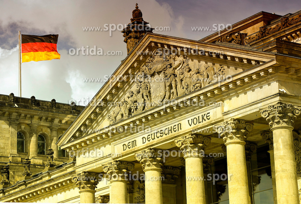 03.09.2013, Berlin, GER, deutscher Bundestag, Reichtagsgebaeude, im Bild Deutsche Flagge weht auf dem Reichstagsgebaeude // German flag flies at the Reichstag building in Berlin, Germany on 2013/09/03. EXPA Pictures &copy; 2013, PhotoCredit: EXPA/ Eibner/ Michael Weber<br /> <br /> ***** ATTENTION - OUT OF GER *****