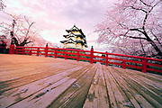 Hirosaki Castle Japan.This year spring was early and so, not many tourists. A rare capture of the castle without hundreds of people on the bridge trying to get a good shot.<br />