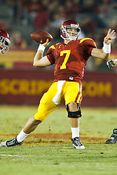 September 11, 2010; Los Angeles, CA, USA;  Southern California Trojans quarterback Matt Barkley (7) throws a pass against the Virginia Cavaliers during the third quarter at the Los Angeles Memorial Coliseum.  USC defeated Virginia 17-14.