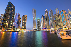 Evening view of skyscrapers at Marina District in Dubai United Arab Emirates