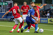 AFC Wimbledon Kyron Stabana (14) dribbling in box during the Pre-Season Friendly match between AFC Wimbledon and Bristol City at the Cherry Red Records Stadium, Kingston, England on 9 July 2019.