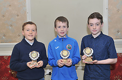Westport AC's U12 Boys Cross Country All Ireland winners James Marrey, Colin Hastings and Danny Brennan at the club's annual awards.<br /> Pic Conor McKeown