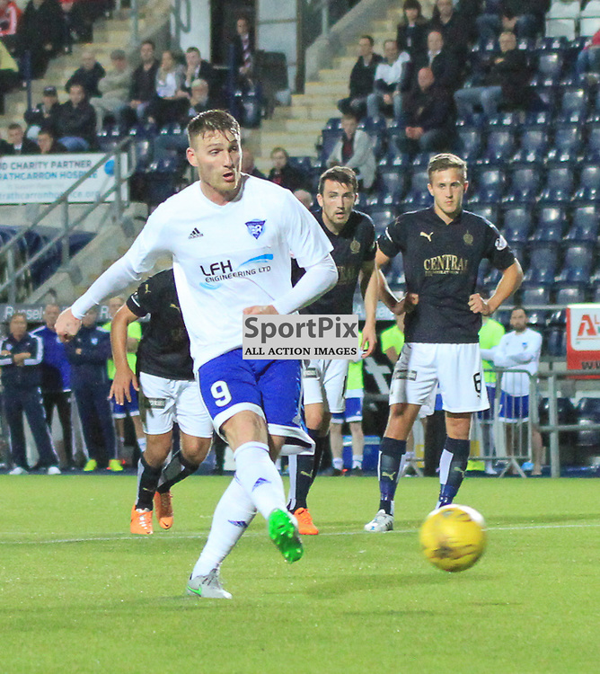 Falkirk V Peterhead PETROFAC TRAINING CUP 18 August 2015; Peterhead's Rory McAllister scores a penalty during the Falkirk V Peterhead PETROFAC TRAINING CUP match played at The Falkirk Stadium, Falkirk.