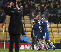 Photo: Jonathan Butler.<br />Watford v Stockport County. The FA Cup. 06/01/2007.<br />Stockport celebrate after David Poole opens the scoring.