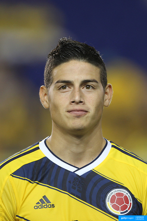 James Rodriguez, Colombia, during the Colombia Vs Canada friendly international football match at Red Bull Arena, Harrison, New Jersey. USA. 14th October 2014. Photo Tim Clayton