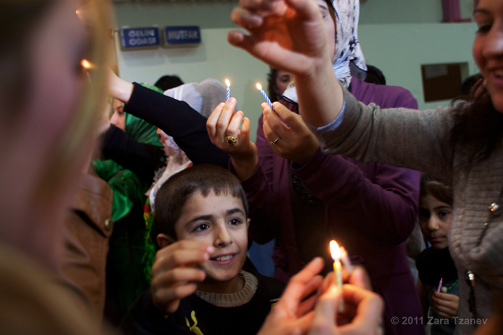 Feb. 7, 2011 -- Bride and groom Metiya and Sükrü Demir celebrate with friends and family in Kurtulus, Istanbul.