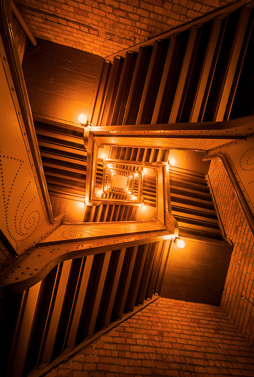 Looking up an interesting staircase, Minneapolis, USA.