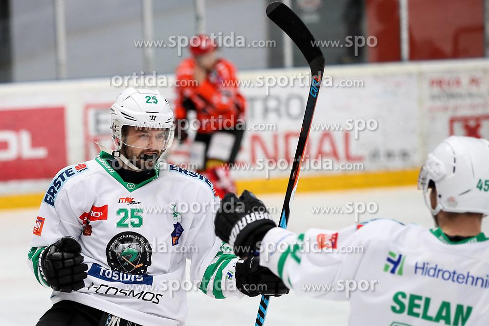 Crt Snoj of Olimpija celebrates during ice hockey match between HDD SIJ Acroni Jesenice and HDD Olimpija Ljubljana in Final of Slovenian League 2016/17, on April 9, 2017 in Podmezaklja, Jesenice, Slovenia. Photo by Matic Klansek Velej / Sportida