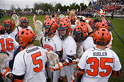UVA celebrates it's victory over UMD.  The #9 ranked Maryland Terrapins fell to the #1 ranked Virginia Cavaliers 10 in 7 overtimes in Men's NCAA Lacrosse at Klockner Stadium on the Grounds of the University of Virginia in Charlottesville, VA on March 28, 2009.