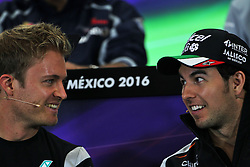 (L to R): Nico Rosberg (GER) Mercedes AMG F1 and Sergio Perez (MEX) Sahara Force India F1 in the FIA Press Conference.<br /> 27.10.2016. Formula 1 World Championship, Rd 19, Mexican Grand Prix, Mexico City, Mexico, Preparation Day.<br /> Copyright: Photo4 / XPB Images / action press