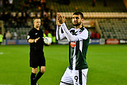 Nadir Ciftci (9) of Plymouth Argyle applauds the Plymouth fans after scoring the winning penalty in the penalty shoot-out after a 2-2 draw at full time with Kyle Letheren (25) of Plymouth Argyle during the EFL Trophy match between Plymouth Argyle and Exeter City at Home Park, Plymouth, England on 3 October 2017. Photo by Graham Hunt.