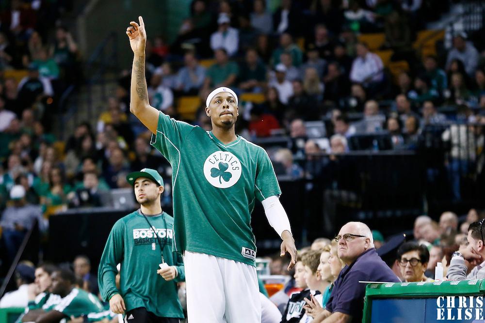 17 November 2012: Boston Celtics small forward Paul Pierce (34) celebrates during the Boston Celtics 107-89 victory over the Toronto Raptors at the TD Garden, Boston, Massachusetts, USA.