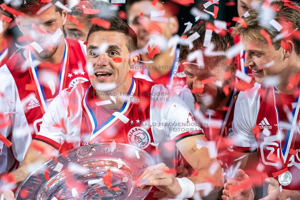 15-05-2019 NED: De Graafschap - Ajax, Doetinchem<br /> Round 34 / It wasn't really exciting anymore, but after the match against De Graafschap (1-4) it is official: Ajax is champion of the Netherlands / Dusan Tadic #10 of Ajax, Lasse Schone #20 of Ajax, Frenkie de Jong #21 of Ajax