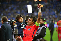 Victoire du PSG / Joie Thiago SILVA  - 11.04.2015 -  Bastia / PSG - Finale de la Coupe de la Ligue 2015<br />