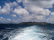 View from the back of a ferry leaving Cruz Bay, St. John's, US Virgin Islands
