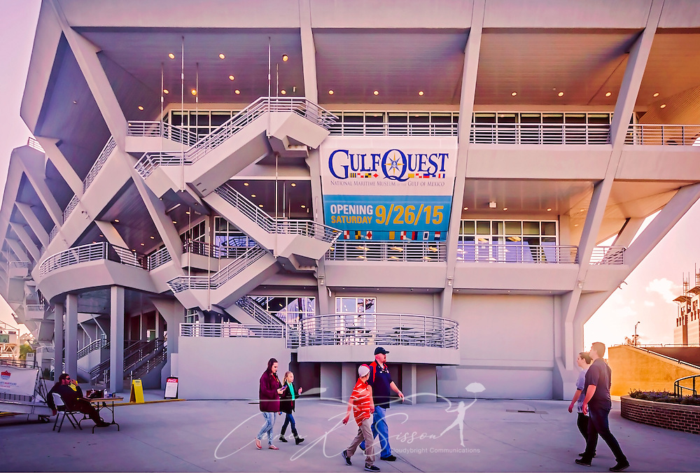 Visitors walk past the riverside entrance to GulfQuest National Maritime Museum of the Gulf of Mexico at Cooper Riverside Park,  November 27, 2015, in Mobile, Alabama. The museum opened in September 2015 and features more than 90 interactive exhibits celebrating the  Gulf Coast's rich maritime heritiage. (Photo by Carmen K. Sisson/Cloudybright)