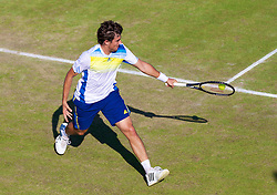 LIVERPOOL, ENGLAND - Friday, June 21, 2013: Guido Pella during Day Two of the Liverpool Hope University International Tennis Tournament at Calderstones Park. (Pic by David Rawcliffe/Propaganda)