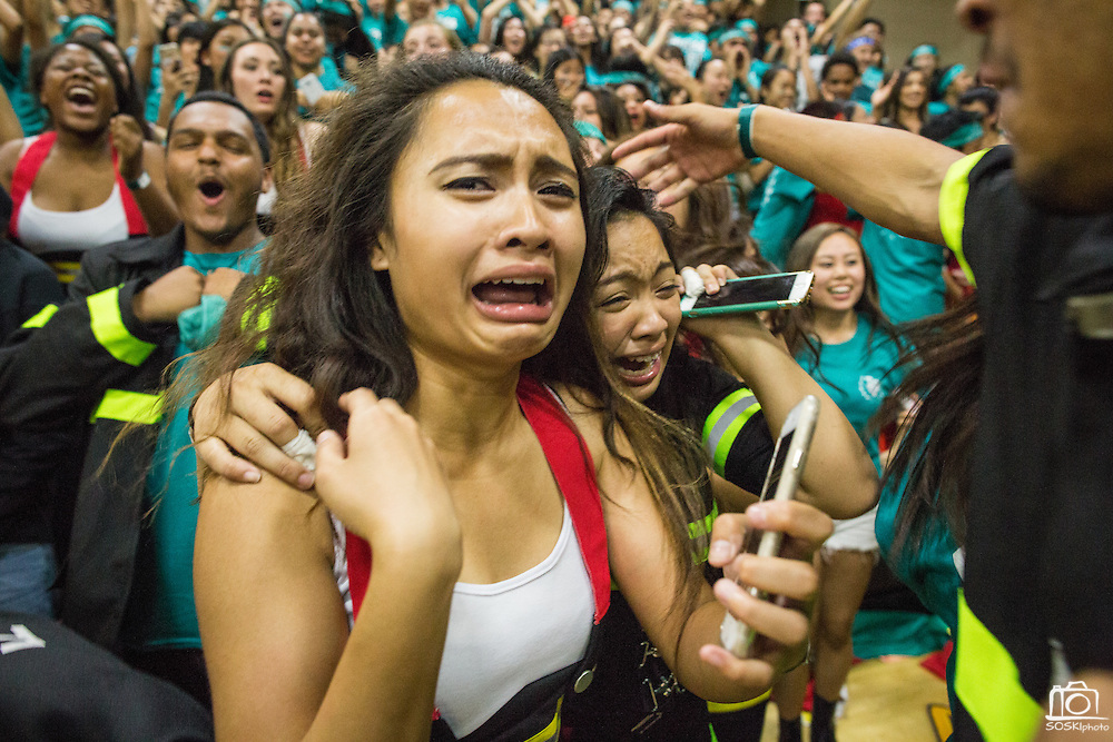 Milpitas High School juniors celebrate their victory over the seniors and other classes during the annual Trojan Olympics, where classes compete in various unorthodox events for class bragging rights, at Milpitas High School in Milpitas, California, on March 27, 2015. (Stan Olszewski/SOSKIphoto)