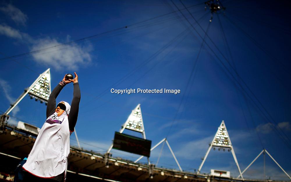 Hajar Taktaz of Iran competes in the women's Shot Put F11/12 final at the Olympic Stadium during the London 2012 Paralympic Games in London, Britain, 05 September 2012.  EPA/KERIM OKTEN