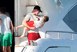 EXCLUSIVE Wayne Rooney, his wife Coleen, his sons Kai, Klay and Kit go sailing on a large yacht through the crystal clear waters of Formentera (Balearic Islands) with their family. Wayne has yet to reveal his plans for next season amid continuing rumours of a mega money transfer to China.<br />