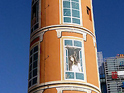 BEIJING, CHINA - NOVEMBER 24: (CHINA OUT) <br /> <br /> Water Tower Is Dressed As A Building In Beijing<br /> <br /> A deserted water tower is dressed as a five-story building with each story a young lady overlooking out of the window at Zhongguancun Dongsheng Science & Technology Park on November 24, 2014 in Beijing, China. A 20-meter-tall deserted water tower was painted its surface as a five-story building with each story a young lady looking into the far distance. The water tower was used to belong to a boiler factory and then was abandoned after modern office buildings being built around here.<br /> ©Exclusivepix