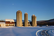 Washingtonville, New York - The moon rises over Udderly Fresh Farm in Washingtonville on Feb. 11, 2014.