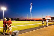 23 SEPTEMBER 2011 - SCOTTSDALE, AZ: Fireworks go off during the National Anthem at Desert Mountain High School in Scottsdale. Desert Mountain played Notre Dame in Desert Mountain's homecoming high school football game.     PHOTO BY JACK KURTZ