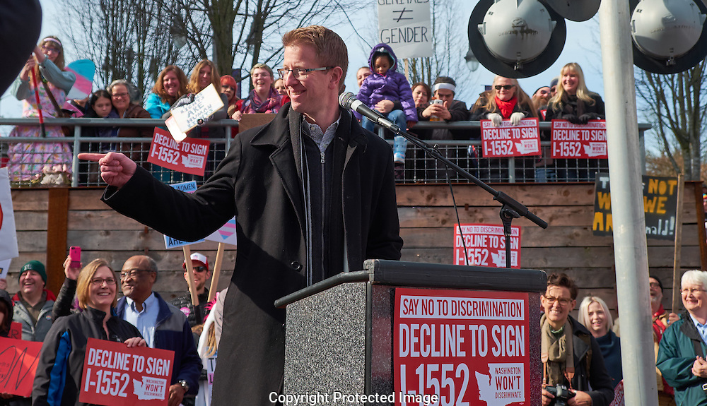 US Rep. Derek Kilmer speaking at a decline to sign I-1552 rally in downtown Tacoma, Washington, Saturday, Feb. 25, 2017. The voter  initiative—I-1552—would repeal protections for transgender Washingtonians. (Photo/John Froschauer)