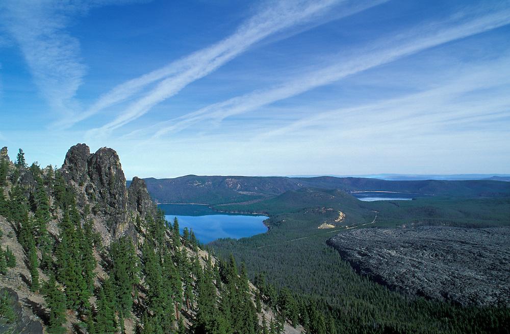 Paulina and East Lakes from Paulina Peak; Newberry National Volcanic Monument, Oregon.