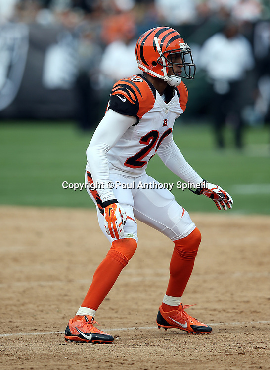 Cincinnati Bengals cornerback Leon Hall (29) makes a move during the 2015 NFL week 1 regular season football game against the Oakland Raiders on Sunday, Sept. 13, 2015 in Oakland, Calif. The Bengals won the game 33-13. (©Paul Anthony Spinelli)
